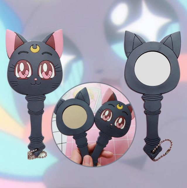 Anime Sailor Moon Luna Purple Cat Make Up Mirror Handle Portable Cosplay Gift Black Cat Keyring KeyChain