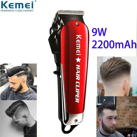 kemei 9 w barbeiro poderosa maquina de cortar cabelo profissional aparador de cabelo para homens