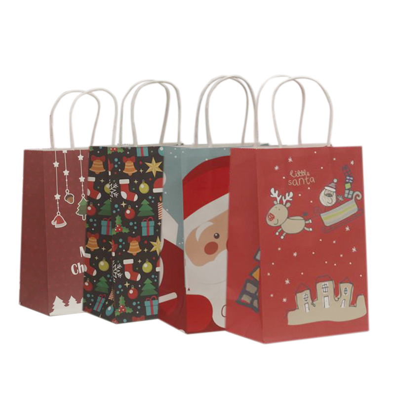 10Pcs/lot Multifuntion Christmas Paper Bag 21*13*8cm Festival gift bags with Handles Christmas Party Supplies For Event Party-in Gift Bags & Wrapping Supplies from Home & Garden