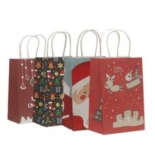 Sacs en papier multifonctions, 21x13x8cm, 10 unités/lot, sacs cadeaux multifonctionnels avec poignées, fournitures de fête de noël et événements