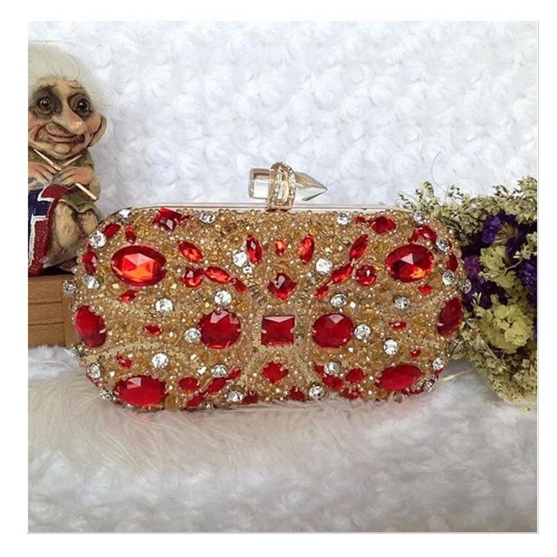 100% Handmade Socialite Evening Bags Luxury Diamond Ladies Clutch Bag Black Red Women Purse 2016 Special Party Clutch XA1610C