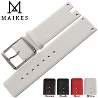 MAIKES New Arrival Genuine Leather Watch Band Strap Black White Soft Durable Watchbands Case For CK