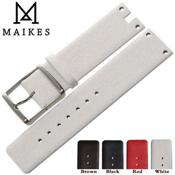 Maikes neue ankunft echtes leder uhrenarmband-bügel schwarz weiß weichen haltbaren uhrenarmbänder fall für ck calvin klein k94231