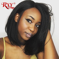 RXY Bob Wig Peruvian Remy Hair Straight 13x6 Free Part Short Bob Lace Front Human Hair Wigs For Women Pre Plucked With Baby Hair