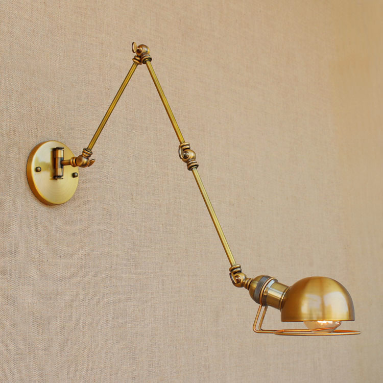 Gold Copper Swing Long Arm Vintage Wall Lamp LED Edison Retro Loft Industrial Wall Light Sconces Lamparas De Pared