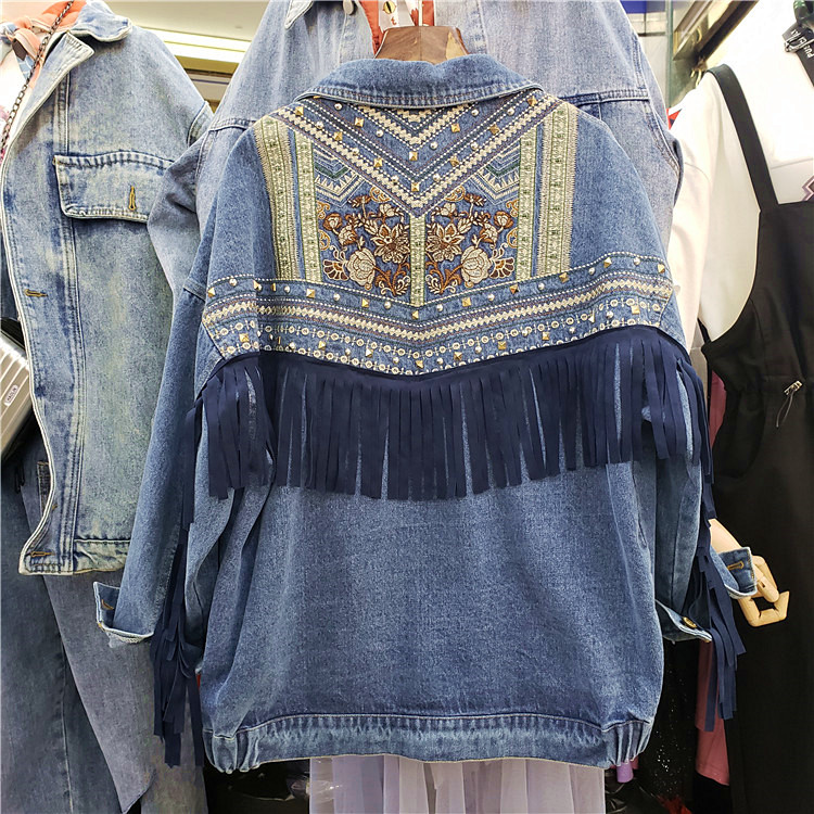 En Denim Coréenne Bordées Bf Veste Dark Chauve Blue Automne De Vestes Printemps souris Tenues Nouveau Femmes Jeans Femme Manteaux Lâche Base Manches pB7Aqw4
