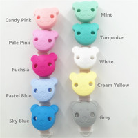 Chenkai 10pcs BPA Free Silicone Bear Baby Dummy Teether Pacifier Chain Clips DIY Baby Soother Nursing Toy Accessories Clips