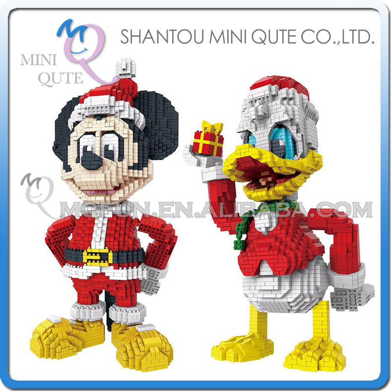 Donald Duck Christmas.Us 36 75 Pzx Building Blocks Merry Christmas Cartoon Action Figures Mickey Donald Duck Blocks Bricks Toys Middle Christmas Gift For Kids In Blocks