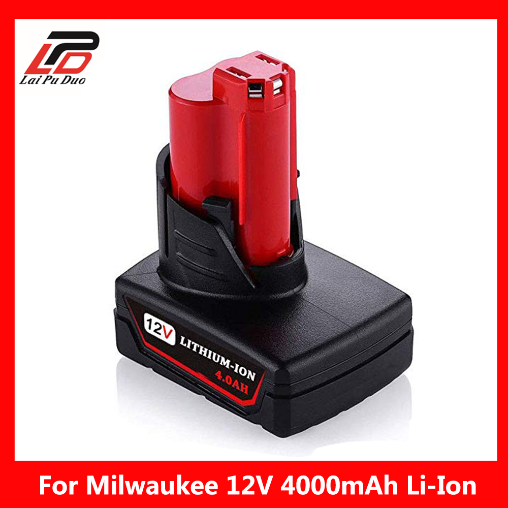 4000mAh 12V Rechargeable Power Tool  Lithium Ion Battery Replacement Battery Backup 4.0Ah for Milwaukee M124000mAh 12V Rechargeable Power Tool  Lithium Ion Battery Replacement Battery Backup 4.0Ah for Milwaukee M12