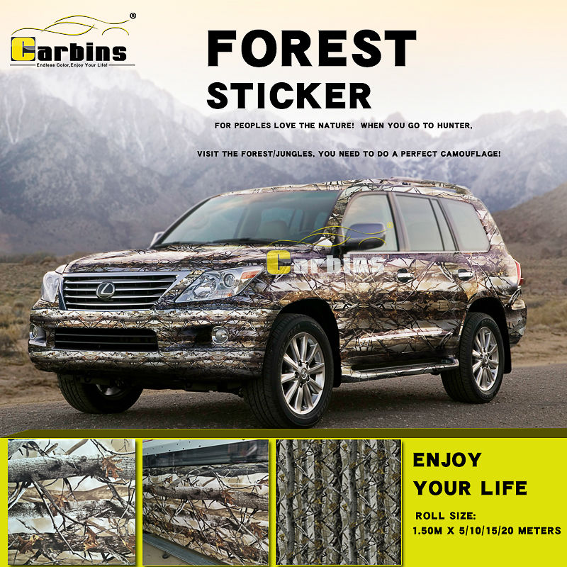 Forest Camouflage Sticker bomb car wrap vinyl Forest leaf design special for HUNTER, nature mountaineer trip covering or fabric camouflage leaf headgear