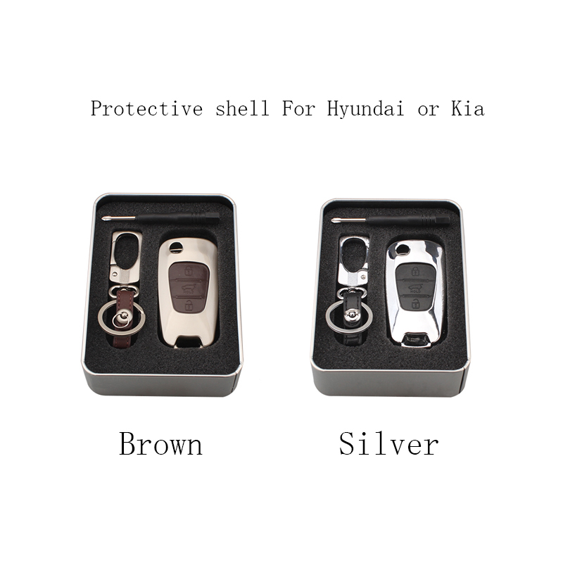 3 Buttons Zinc Alloy Car Key Case For Hyundai I30 I20 Verna For Kia Rio K2 K5 Soul Ceed Sportage Picanto Car-styling