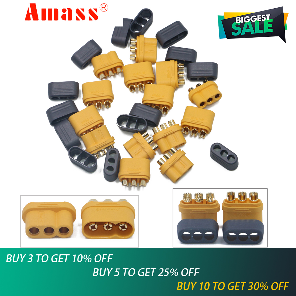 2pair/lot Amass MR60 Plug w/Protector Cover 3.5mm 3-core Connector T plug Interface Connector Sheathed for RC Model2pair/lot Amass MR60 Plug w/Protector Cover 3.5mm 3-core Connector T plug Interface Connector Sheathed for RC Model