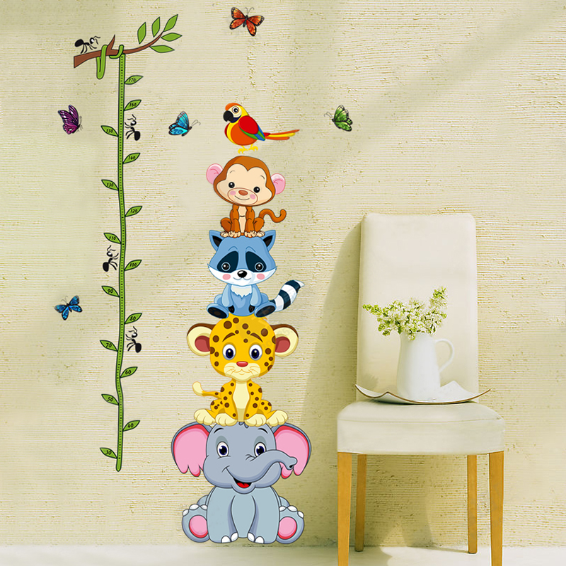 mariposas Cartoon kids Wall stickers small animal cartoon child height stickers height wall decals vinyl stickers home decor