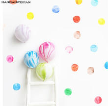 29pcs=1sets Dot Watercolor Wall Sticker Color Circle Wall Decal Children Room Removable Decorative Stickers For Kid's Bedroom(China)