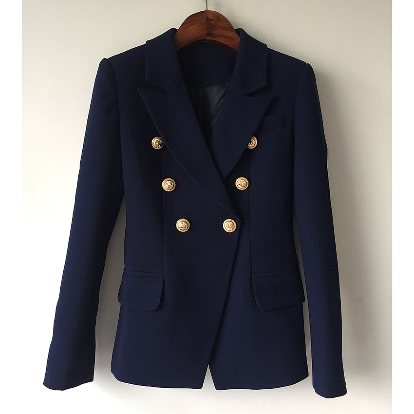 HIGH QUALITY New Fashion 2019 Designer Blazer Jacket Women's Metal Lion Buttons Double Breasted Blazer Outer Coat Size S-XXXL