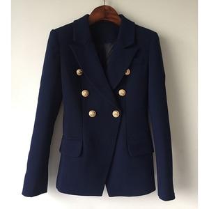 Image 2 - Yüksek kalite yeni moda 2020 tasarımcı Blazer ceket kadın Metal aslan düğmeler çift Breasted Blazer dış ceket boyutu S XXXL
