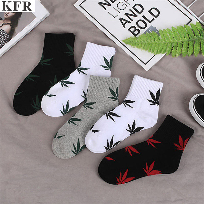 Weed Socks Cotton Harajuku Skateboard Hip Hop Maple Leaf Socks Women's Street Boat Socks Bamboo Funny Korean Socks Plus Size