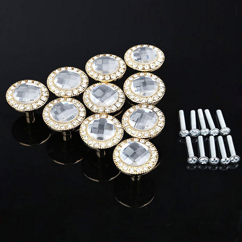 One Pack/10Pcs 30mm Diamond Shape Crystal Glass Handle For Furniture Drawer Cabinet Knobs And Handles Kitchen Door Hardware 10 pcs 30mm diamond shape crystal glass drawer cabinet knobs and pull handles kitchen door wardrobe hardware accessories