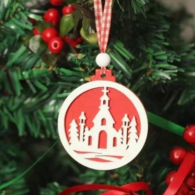 adornos navideos rojo y blanco circular de madera decorativa ornamentos del rbol de navidad adornos
