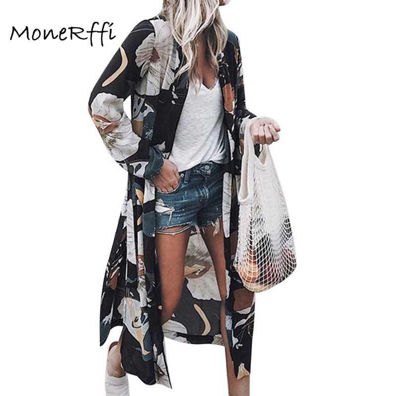 636d004abfc1 MoneRffi mujeres verano gasa Kimono cárdigan manga larga estampado Floral  blusas sueltas Boho Blusa Camisas talla grande 2019