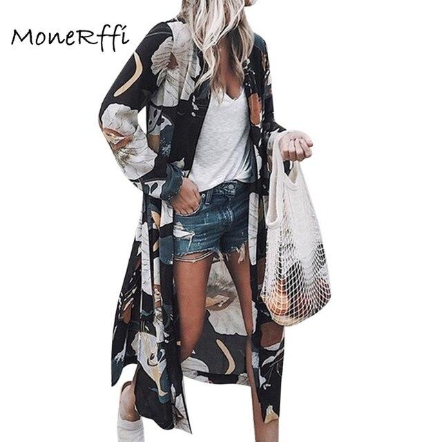 MoneRffi Phụ Nữ Mùa Hè Voan Kimono Cardigan Dài Tay Áo Áo Cánh In Hoa Loose Boho Blusa Áo Sơ Mi Cộng Với Kích Thước Áo Sơ Mi 2019