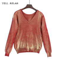 CRIER ROLAN 2017 Mode Femmes Bronzage D'or Tops De Noël Rose Chandail Automne Hiver À Tricoter Pull Profonde V Pull Col
