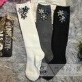 Women Socks 2017 Spring New Handmade Custom Personalized Diamond Gem Flower Cotton Obscure High School Tube Pile Heap Socks