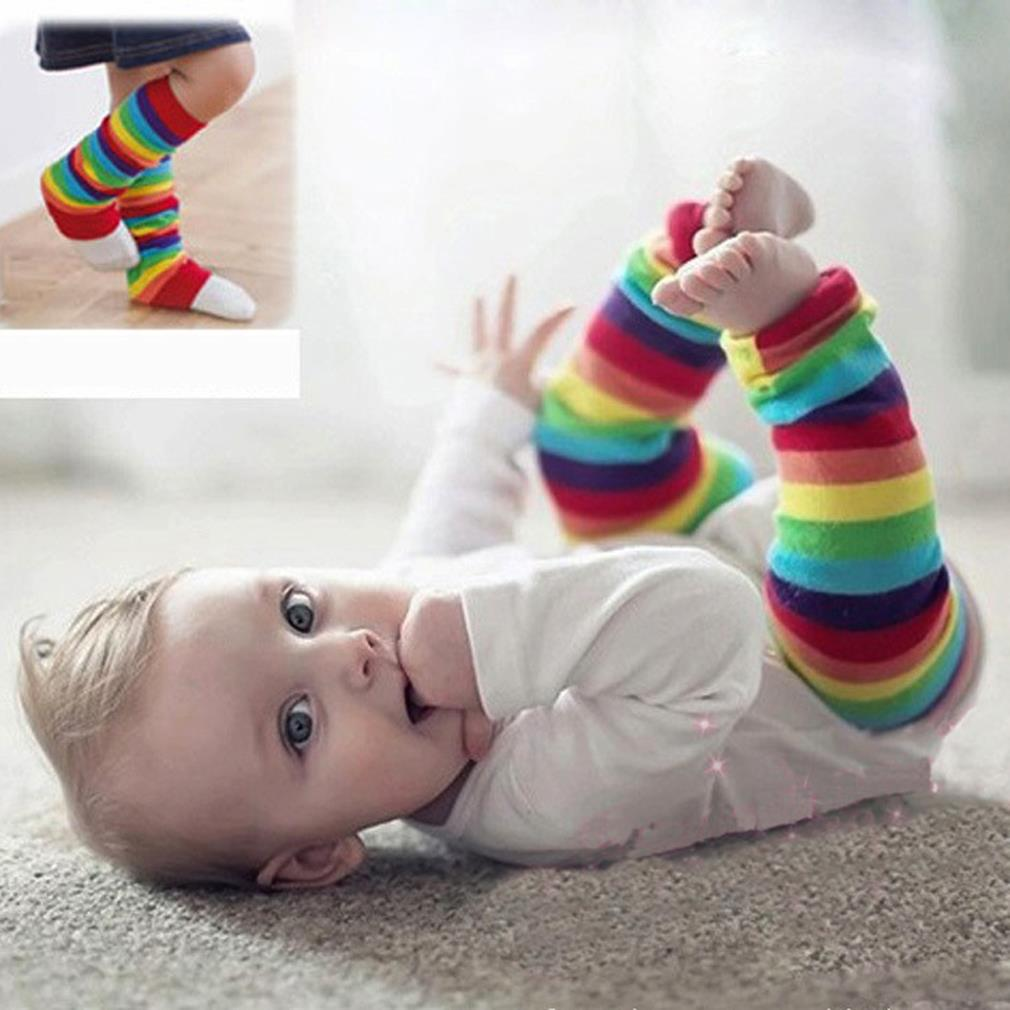 Baby Knee Pad Kids Socks Leg Warmers Kneepad Protector Rainbow Striped newborn girls tights