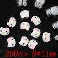 Comercio al por mayor 200 unids 11x9mm cabeza de hello kitty hello kitty resina para el arte del clavo muchos colores para elegir