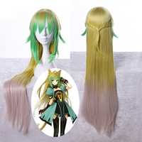 Biamoxer Fate Apocrypha Grand Order Cosplay Wig Atalanta Mixed Colors Long Straight Synthetic Hair for Adult