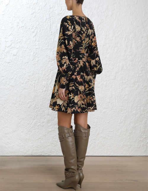 d6ced5aaa47ad Women Silk Black Jonquil Floral Print Long Blouson Sleeve Unbridled Basque  Bias Cut Mini Dress
