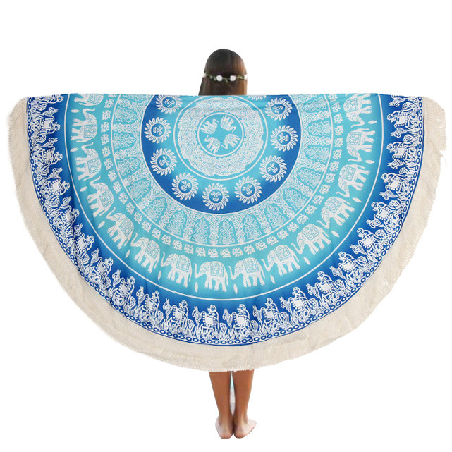 New Round Beach Pool Home Shower Towel Blanket Table Cloth Yoga Mat owel Blanket Table Chiffon Cloth ngo#