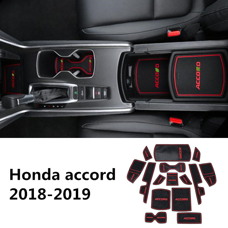 Anti-Slip Gate Slot Mat Rubber Cup Coaster for <font><b>Honda</b></font> <font><b>Accord</b></font> <font><b>2018</b></font> 2019 10 10th Gen <font><b>Accessories</b></font> Stickers Car Styling image