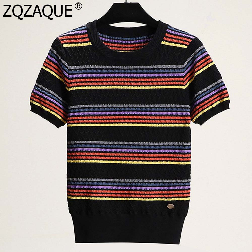 2019 Women's Luxury T-shirts Colorful Striped Short Sleeve Knit Tops White Black O Neck T Shirts All-match Summer Fall Nice Tees