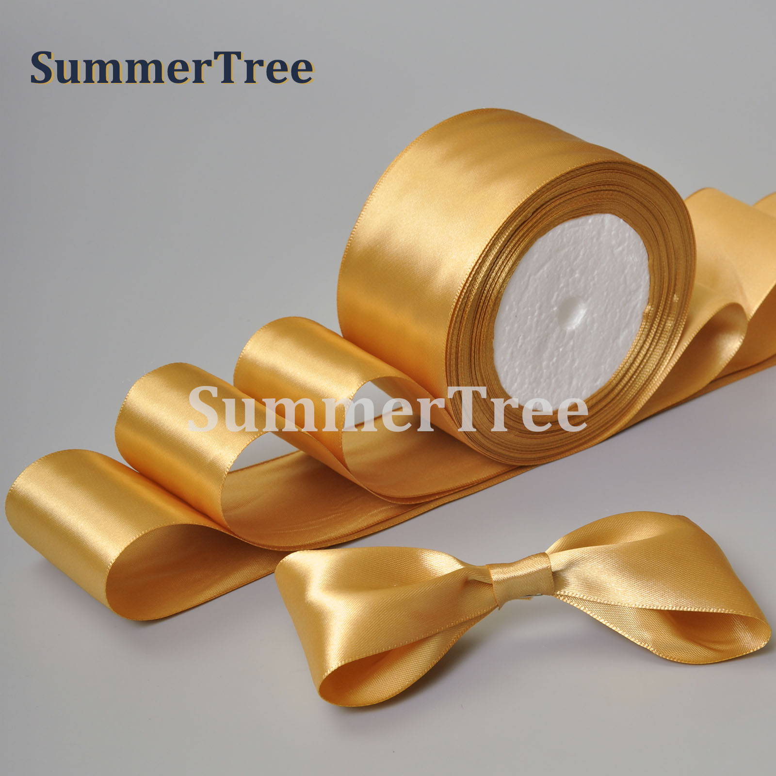 Gold 25yards 6mm 10mm 15mm 25mm 38mm 50mm Satin Ribbon Sash Gift Bow Handmade DIY Craft Wedding Party Supply Banquet Decoration
