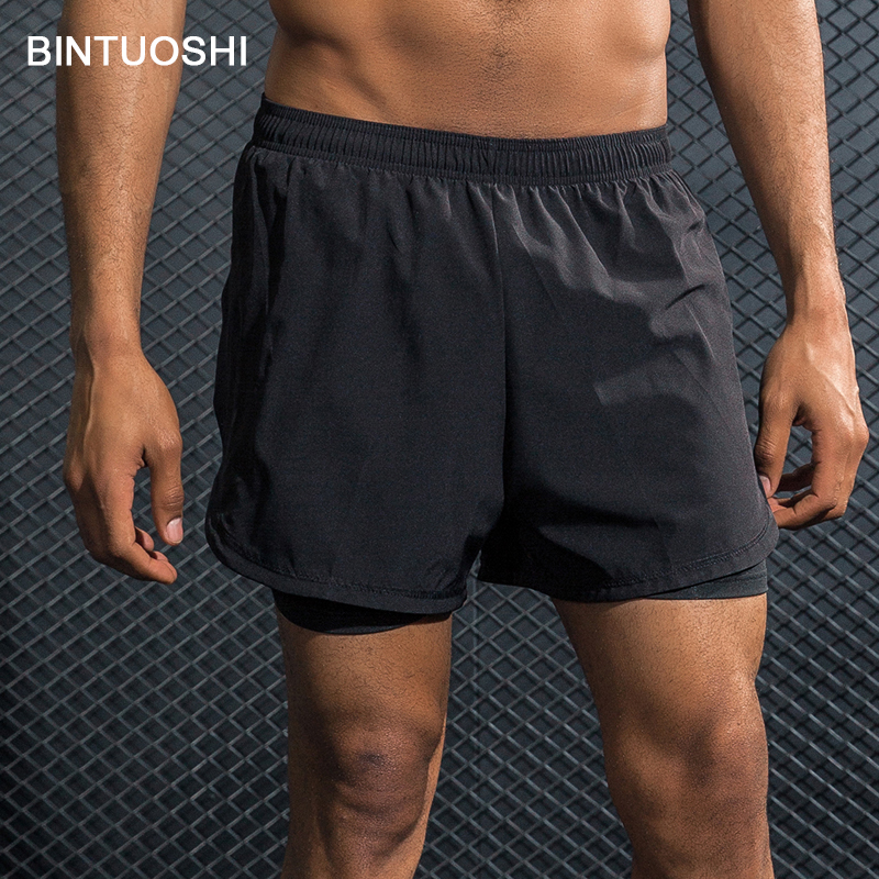 BINTUOSHI Men's 2 in 1 Running Shorts Breathable Marathon Training Fitness Jogging Sports Shorts Quick Dry