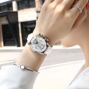 Image 5 - MEGIR frauen uhren luxus quarz wasserdichte Frauen uhr echtes leder strap Chronograph Armbanduhren Relogio Feminino