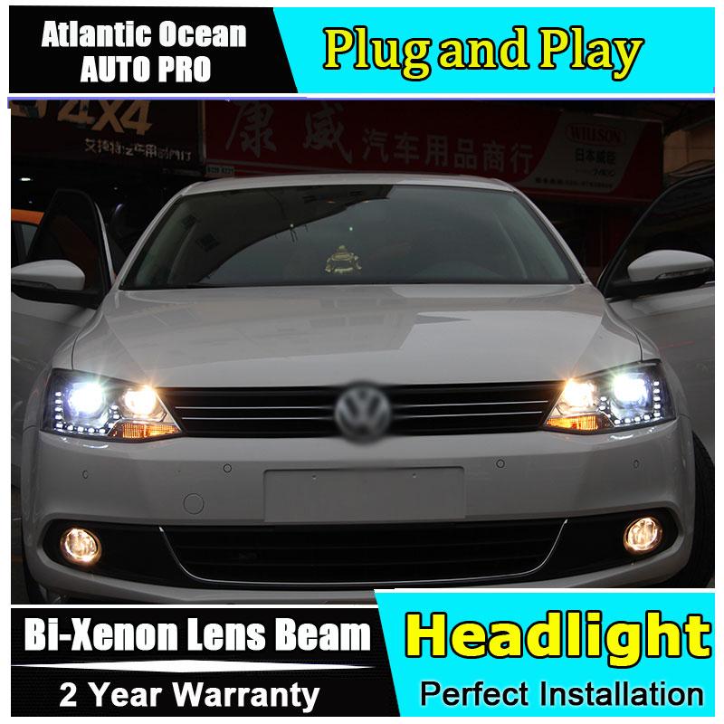 Car Styling For VW Jetta headlights 2011-2014 Jetta MK6 LED Headlight VW new Jetta HID KIT LED Bi-Xenon Lens low beam led drl auto part style led head lamp for porsche 997 series led headlights for 997 drl h7 hid bi xenon lens angel eye low beam