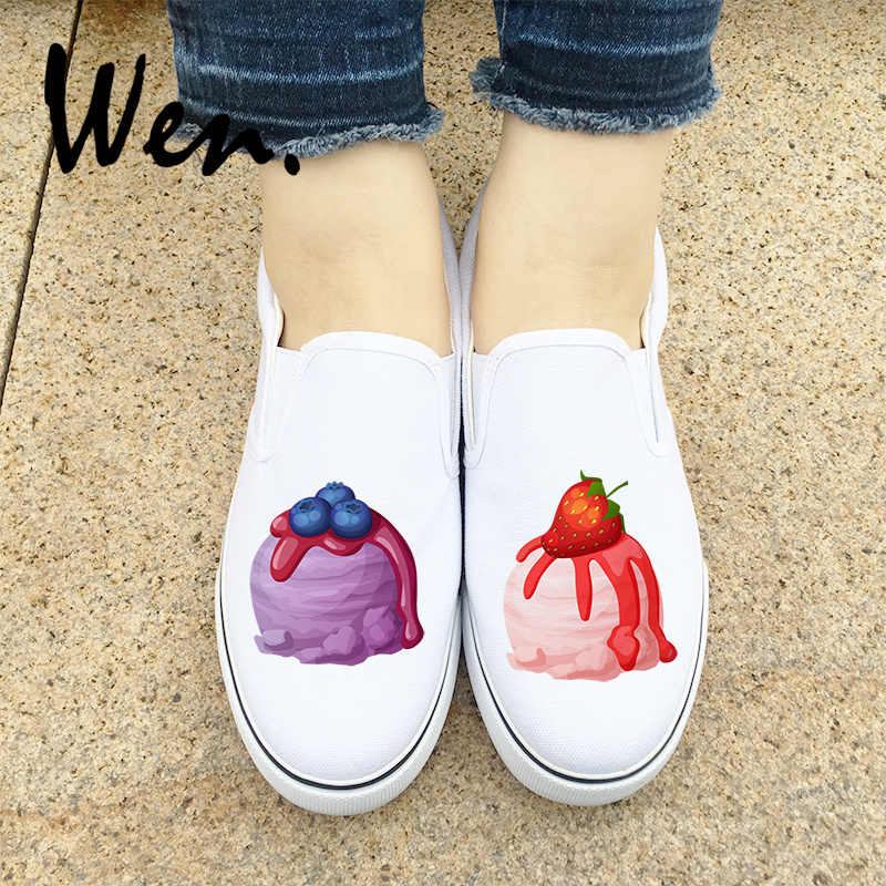2f8f569082 Wen Design Blueberry Strawberry Ice Cream Deliciously Slip On White Black  Flats Adult Shoes Canvas Sneakers