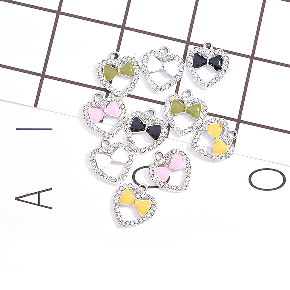 Bowknot in Heart Charms Clear Rhinestone Planner Charms for Jewelry Making DIY Necklace/Bracelet/Earrings Gifts for Women 10pcs