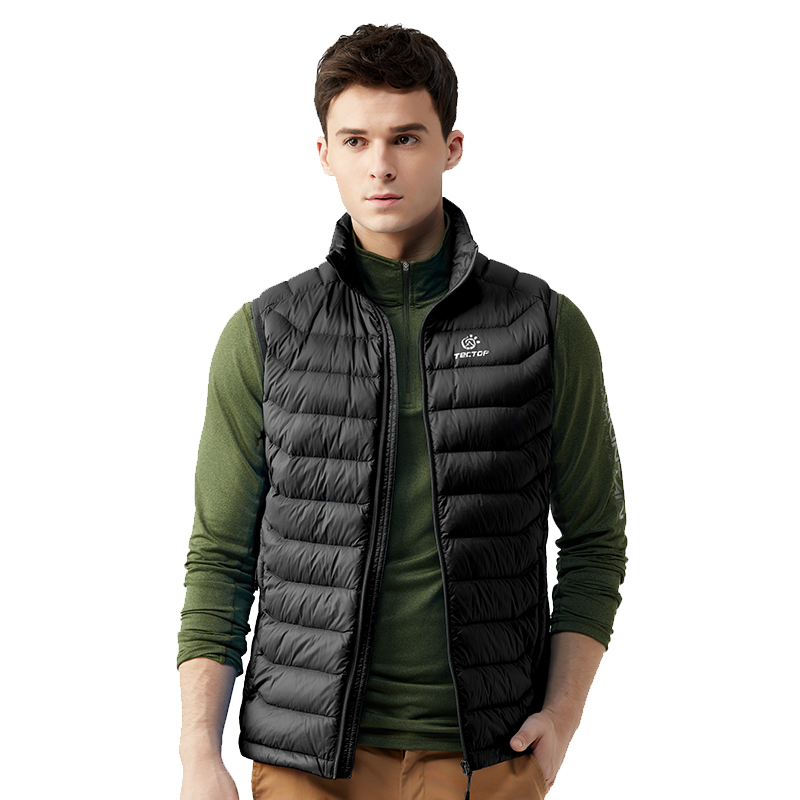 Tectop Outdoor New Autumn Winter Men Thermal Down Vests Male Lightweight White Duck Down Waistcoats Sizes S-3XL, Free Shipping