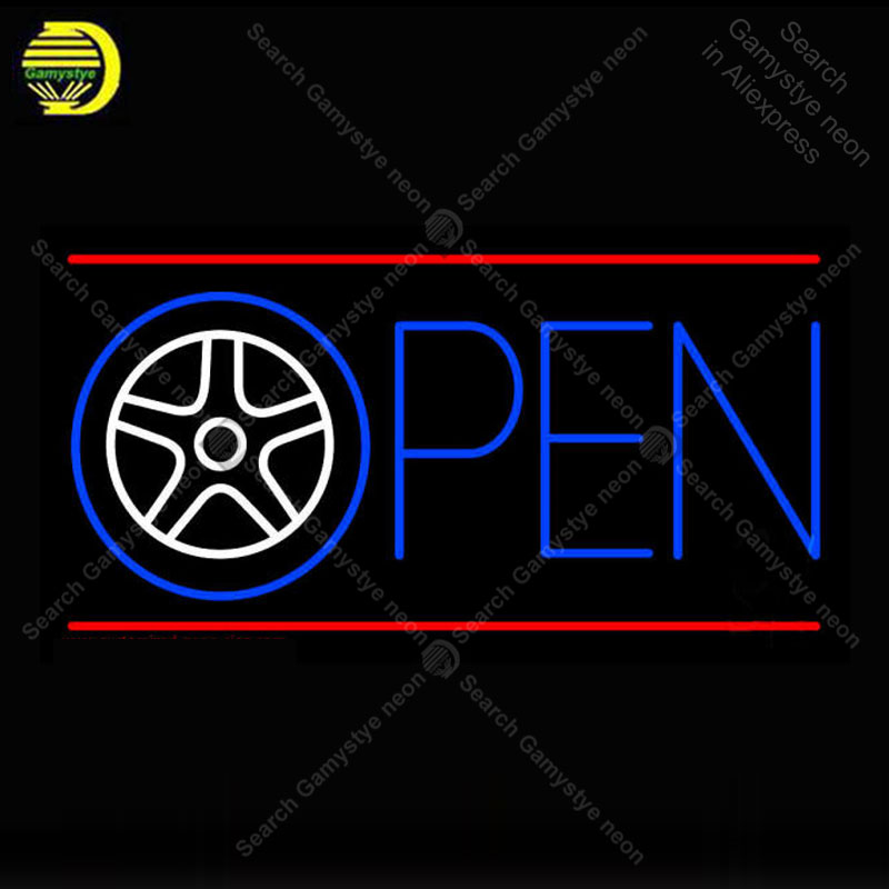 Neon Sign for Car Wheel Open neon bulb Sign Neon lights Sign glass Tube Iconic Light Store display Custom LOGO anuncio luminoso jigu prv1yr48v3 original laptop battery for dell for inspiron 7520 n4720 n7420 14r turbo n5420 17r turbo 5720 n7720
