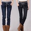 Женщина джинсы Зимние большие джинсы размер упругой ковбой хлопок карандаш брюки Г-Жа упругие талии джинсы с резинкой, XL 5XL