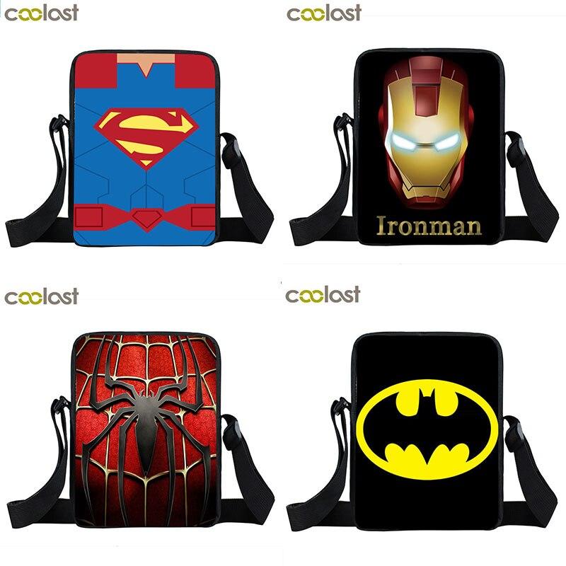 Crossbody-Bag Bookbag Messenger-Bags Comics Spiderman Batman Mini Children For Men Boys