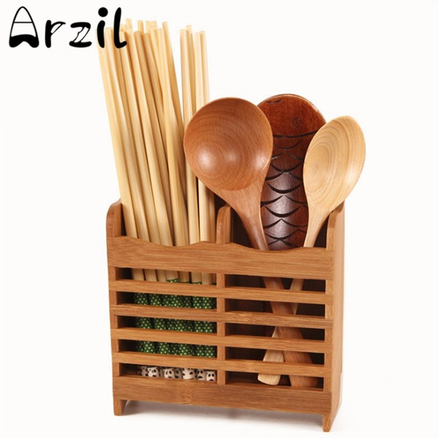Bamboo Cutlery Storage Rack Holder Spoon Chopsticks Storage Shelf Wall  Hanging Shelves Kitchen Organizer Drying Rack