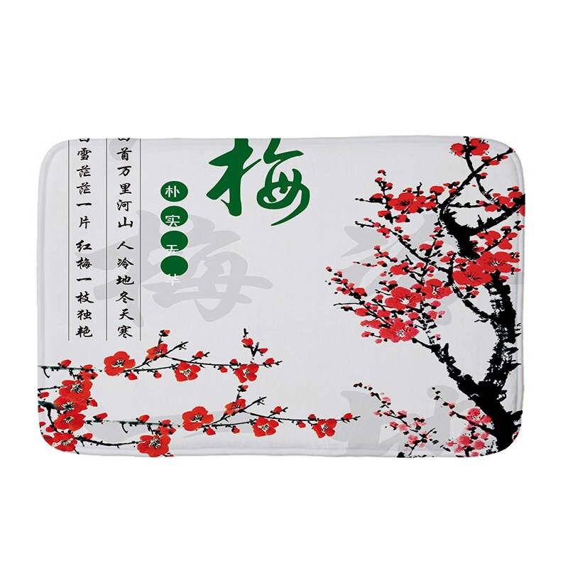 Купить с кэшбэком Chinese Wind Plant Flowers Flannel Floor Mat Anti-Slip Tapete Floor Mats Rugs for Kitchen Printed Bathroom Carpet Doormat