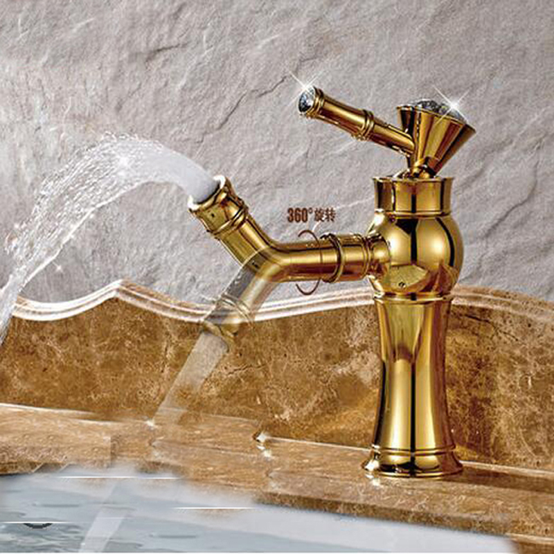 Wholesale And Retail Polished Golden Brass Bathroom Basin Faucet Swivel Spout Crystal Handles Vanity Sink Mixer Tap golden brass kitchen faucet dual handles vessel sink mixer tap swivel spout w pure water tap
