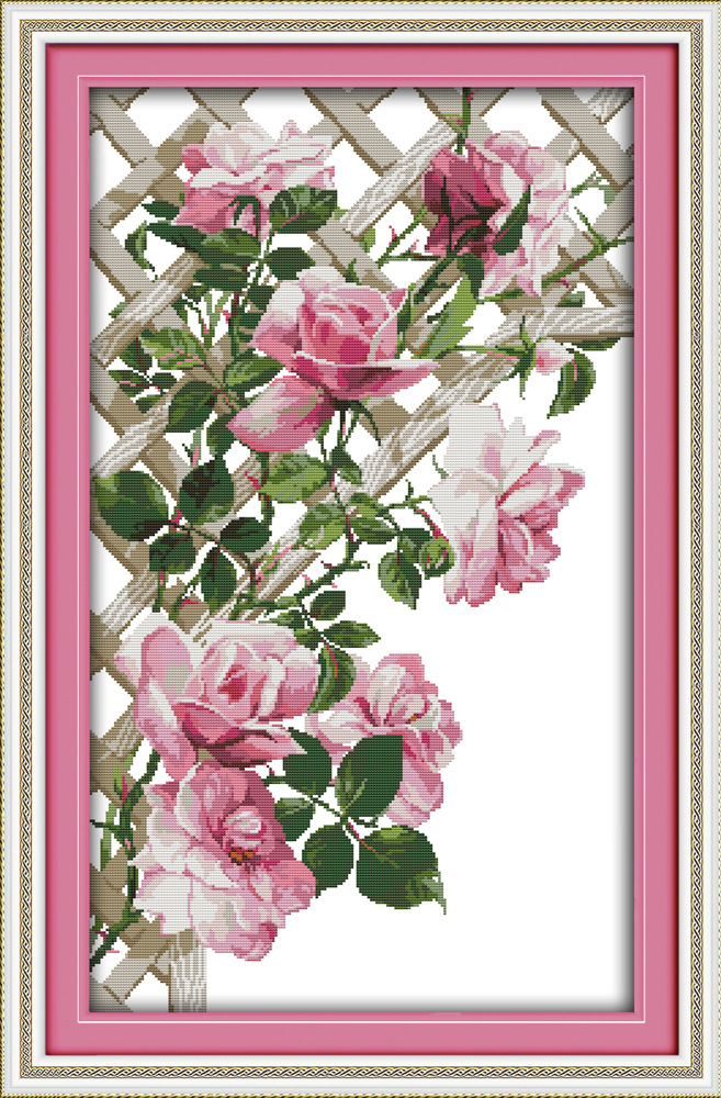Joy Sunday Pink roses beauty cross stitch pattern kits handcraft make embroidery with chart image