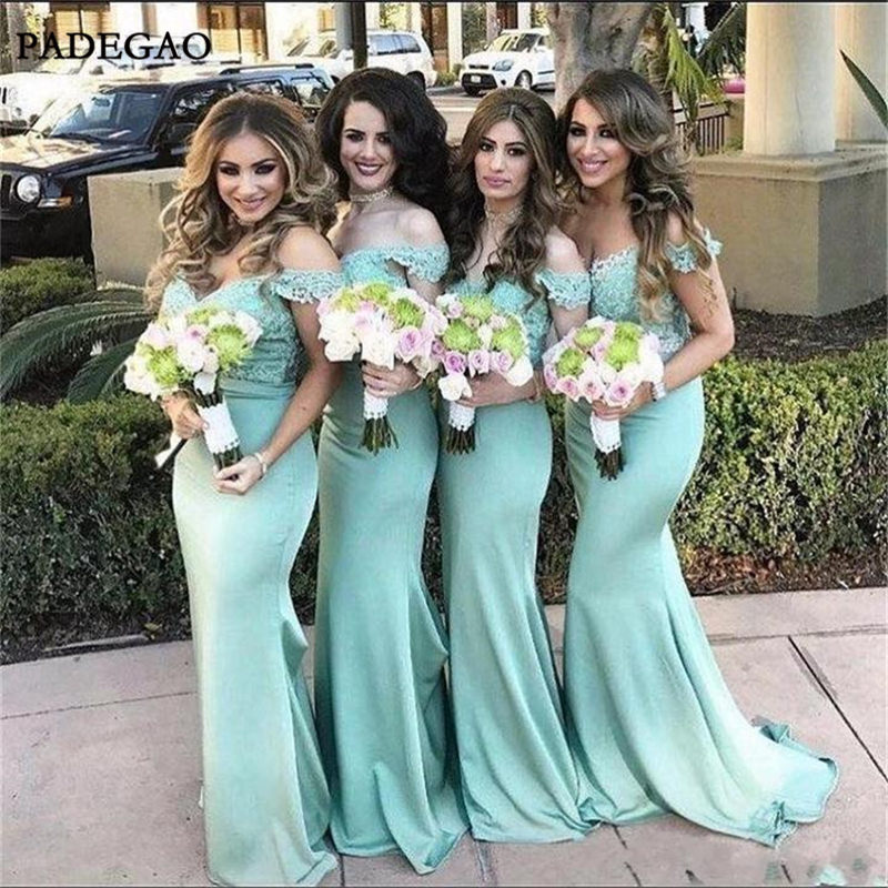 Sexy Popular   Bridesmaids     Dresses   Mermaid Off Shoulder Lace Sweep Train   Bridesmaids     Dresses   Prom wedding Party Custom Made