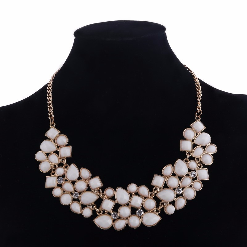 Ikeacasa, Multicolor Stones Vintage Clavicle Necklace Luxury Gold Color Chain Necklaces Women Mujer Statement Necklaces & Pendants